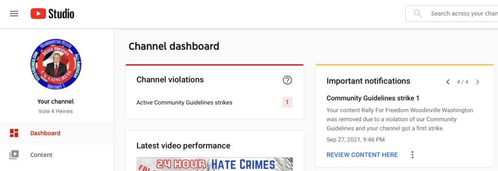 Washington State Covid Corruption Speech Banned By YouTube